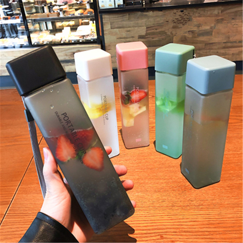New Square Frosted Plastic Water Bottle Portable Transparent Bottle Fruit Juice Leak-proof Outdoor Sport Travel Camping Bottle image