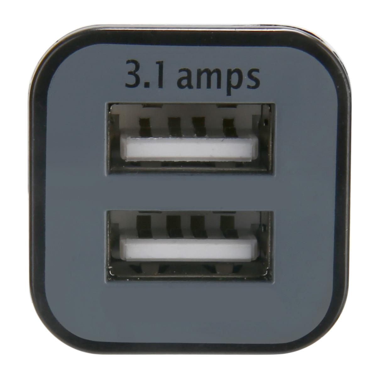 For i-Phone i-Pad 1pc Black Dual 2 USB Car Charger Mini Travel Size Auto Car Cigarette Lighter Adapter 12V 3.1A Mayitr