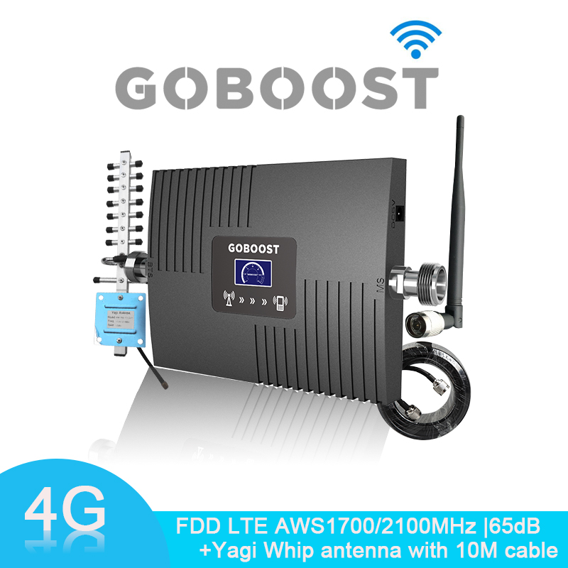 4G Signal Booster LCD Display FDD LTE AWS 1700 2100 Mhz Band 4 65dB Gain Cell Mobile Phone Signal Amplifier AWS 1700MHz Repeater