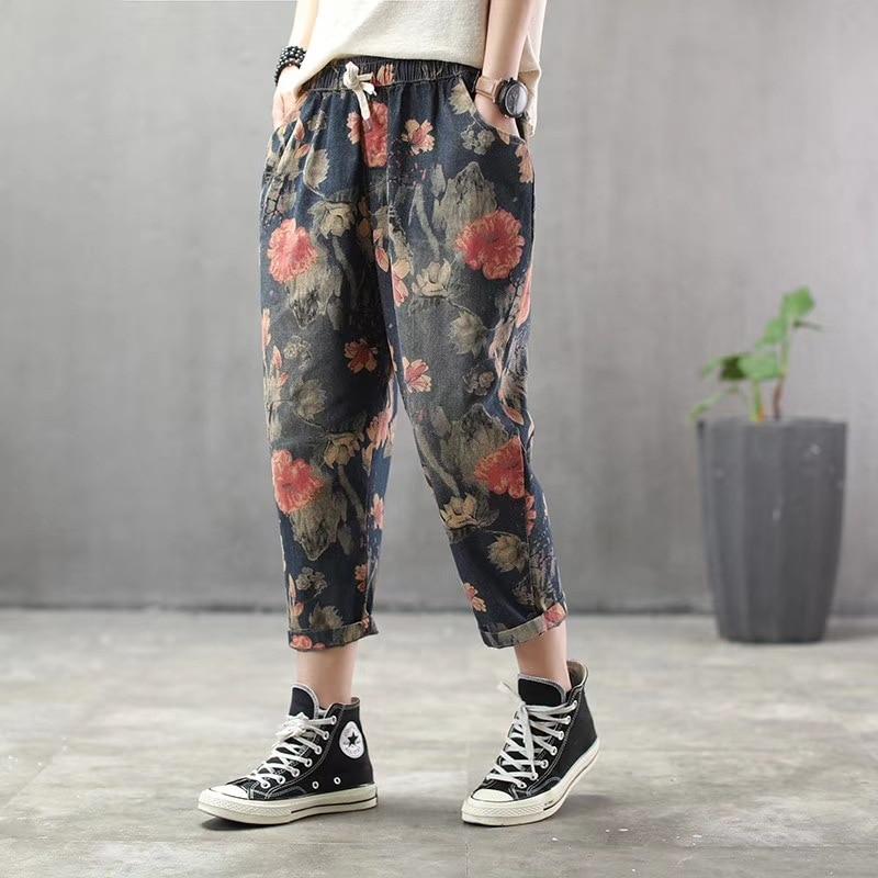 Plus Size Jeans Women Girls Print Flowers Holes Korean Fashion 2020 Spring Summer Casual Vintage Harem Pants Women Jeans Femme