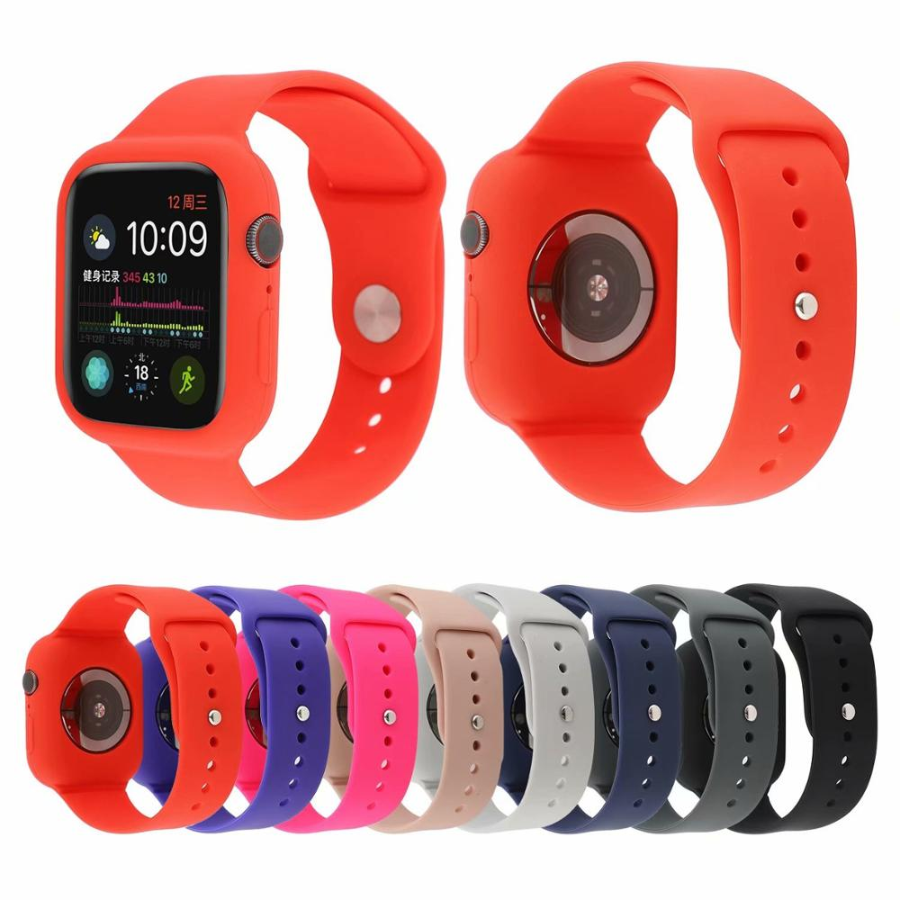 New Silicone Bracelet Strap Proof Case For Apple Strap 4 5 44mm 40mm Sports Bands Protector For Iwatch Series 3 2 1 42mm 38mm