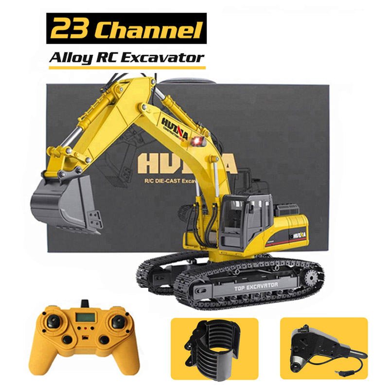 NEWEST Version HUINA 580 1:14 23Ch RC FULL ALLOY RC Excavator Big Rc Trucks Full Metal Remote Control Excavator Toys