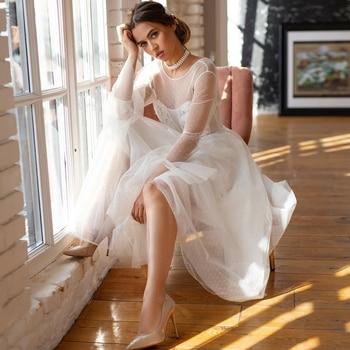 Romantic Short Wedding Dress with Long Sleeves A-line Scoop Vintage Tea-length Bridal Gown Dot Tulle Reception Dress polka dot overlay tea length vintage dress