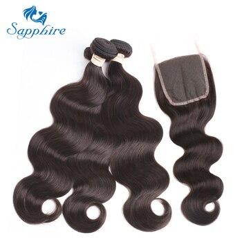Sapphire Body Wave Hair Weave Bundles 2# Color 100% Brazilian Human Hair weaving  8-24inch non Remy human Hair Extension