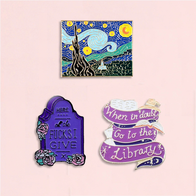 Creativity Art Enamel Pins Oil Painting Flower Book Tombstone Badge Brooches Denim Clothes Fashion Jewelry Gift For Friends