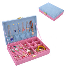 New Large space Creative High quality Hemp Jewelry Box ,Ring Earrings Necklack Storage Container Casket for Trave Case
