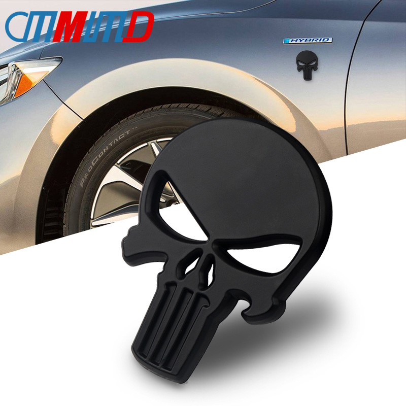 Car Sticker 3D Metal The Punisher Skull Emblem Badge Stickers For The Whole Body QX80 FX35 G25 Q70 Qx60 Car-styling Decals