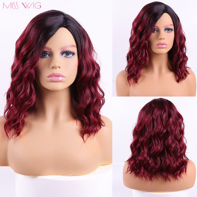 MISS WIG Kinky Curly Wigs Red Color For Black Women Synthetic Wig African America Fluffy Hair High Temperature Fiber