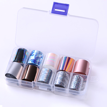 10 rolek/pudełko holograficzne folie do paznokci paznokci okłady wielu wzór kolorowe naklejki transferu naklejki porady ozdoby do paznokci