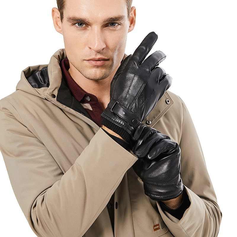 ביזון ינס גברים אמיתי כבש עור כפפות סתיו חורף חם מגע מסך מלא אצבע שחור כפפות באיכות גבוהה S019