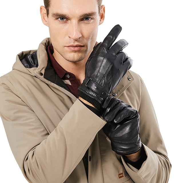 BISON DENIM Men Genuine Sheepskin Leather Gloves Autumn Winter Warm Touch Screen Full Finger Black Gloves High Quality S019 4