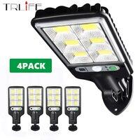 Lámpara Solar para exteriores, luces de calle impermeables IP65, Sensor de movimiento, luz LED de pared de jardín, inducción inteligente de cuerpo humano, paquete de 4 Uds.
