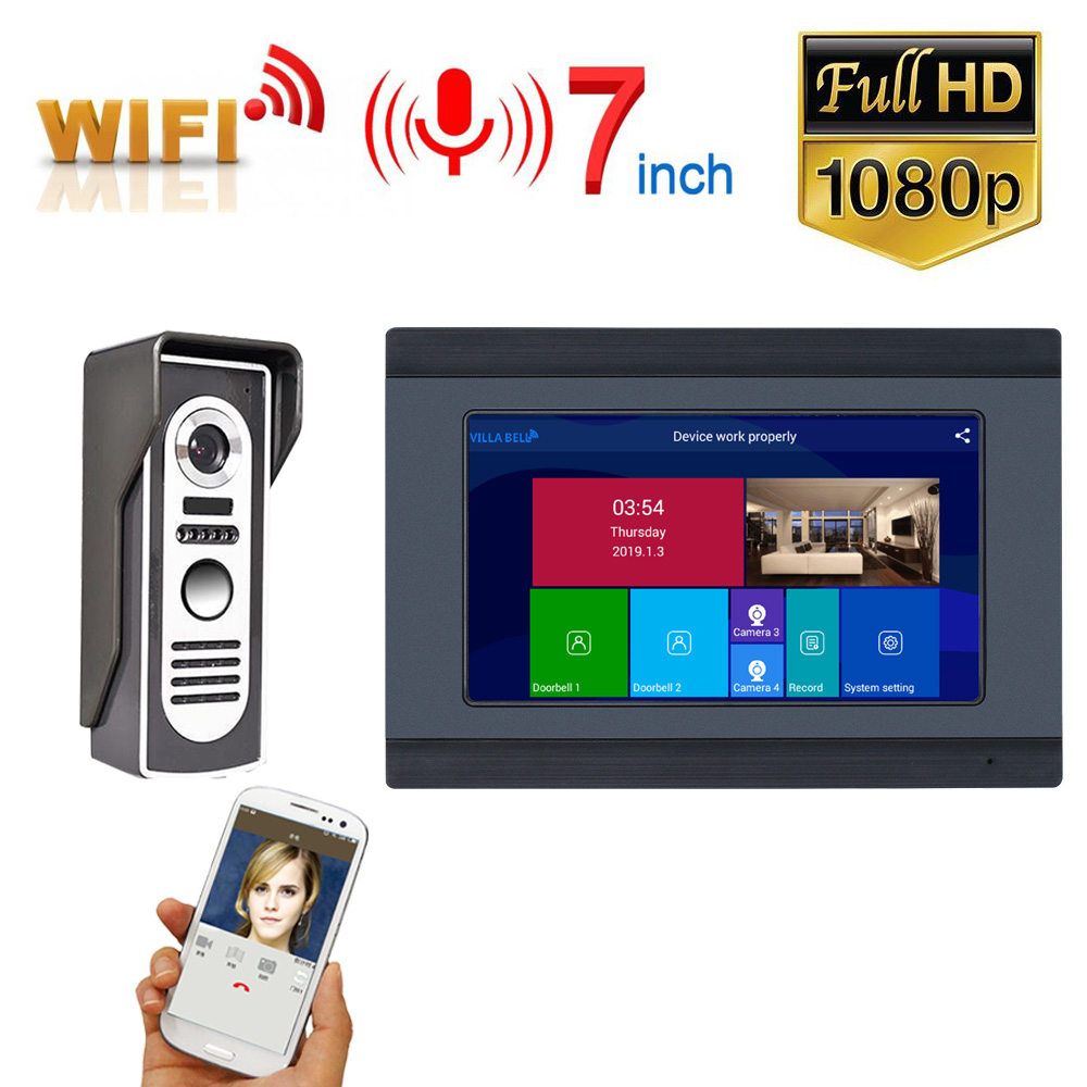 7 Inch Wired Wifi Video Door Phone Doorbell Intercom Entry System With HD 1080P Wired Camera Night Vision,Support Remote APP