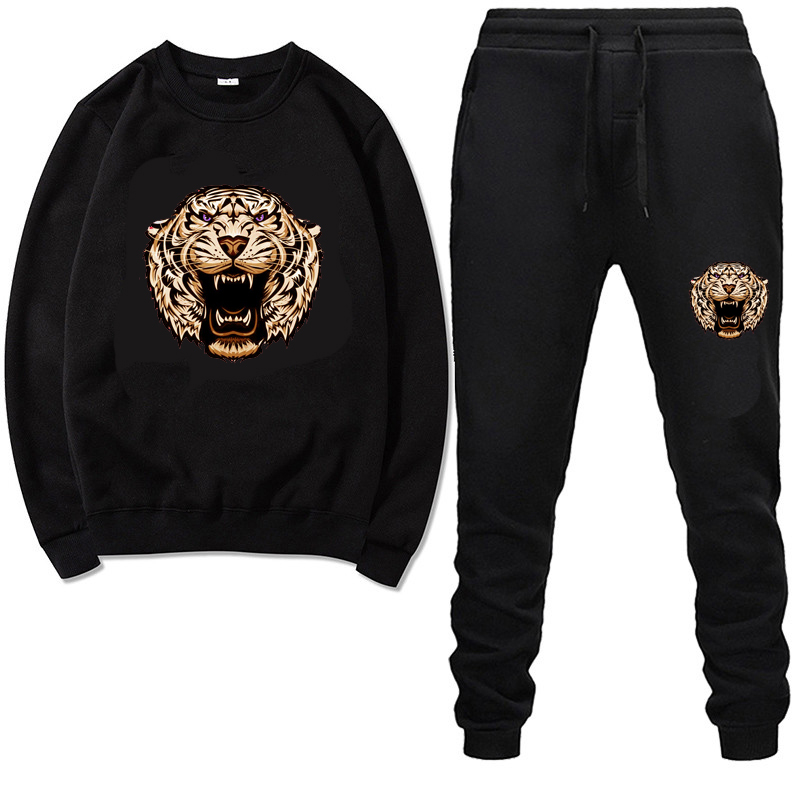 Men Crew Neck Tiger Print TrackSuit Sport Jacket Fall Spring Suit Set Trousers Pants Jogging Outfits