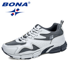 BONA 2020 Action Leather Mesh Running Shoes Men High Quality Outdoor Athletic