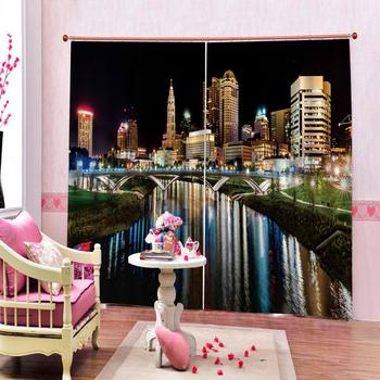 building curtains Customized size Luxury Blackout 3D Window Curtains For Living Room night city curtains