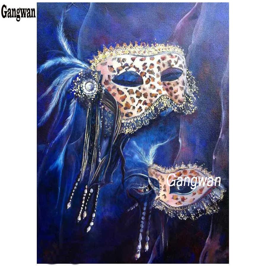 Máscara azul da arte do Diamante Pintura nova beleza máscara de Diamante Bordado ponto-Cruz completo quadrado diamante redondo mosaico Decoração de casa
