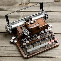Surwish Retro Metal Typewriter Model Kit Vintage Handicrafts Antique Typing Machine Home Decoration Crafts Kids Men Women Gift