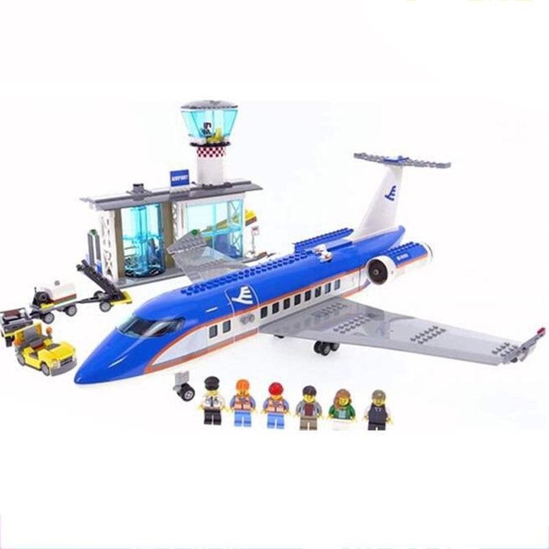 02043 Legoinglys City Series 918pcs Airplane Airport Terminal Station Set Building Blocks Bricks Children Toys Christmas Gifts