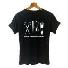 Barber Weapons T Shirt Women Short Sleeve O-Neck Cotton Heartbeat of Hairdresser T-shirt Girls Woman Scissors Clothing Tops