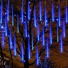 Light Christmas-Lighting Shower Solar-String Wedding-Meteor with 8 Led-Tubes Rain