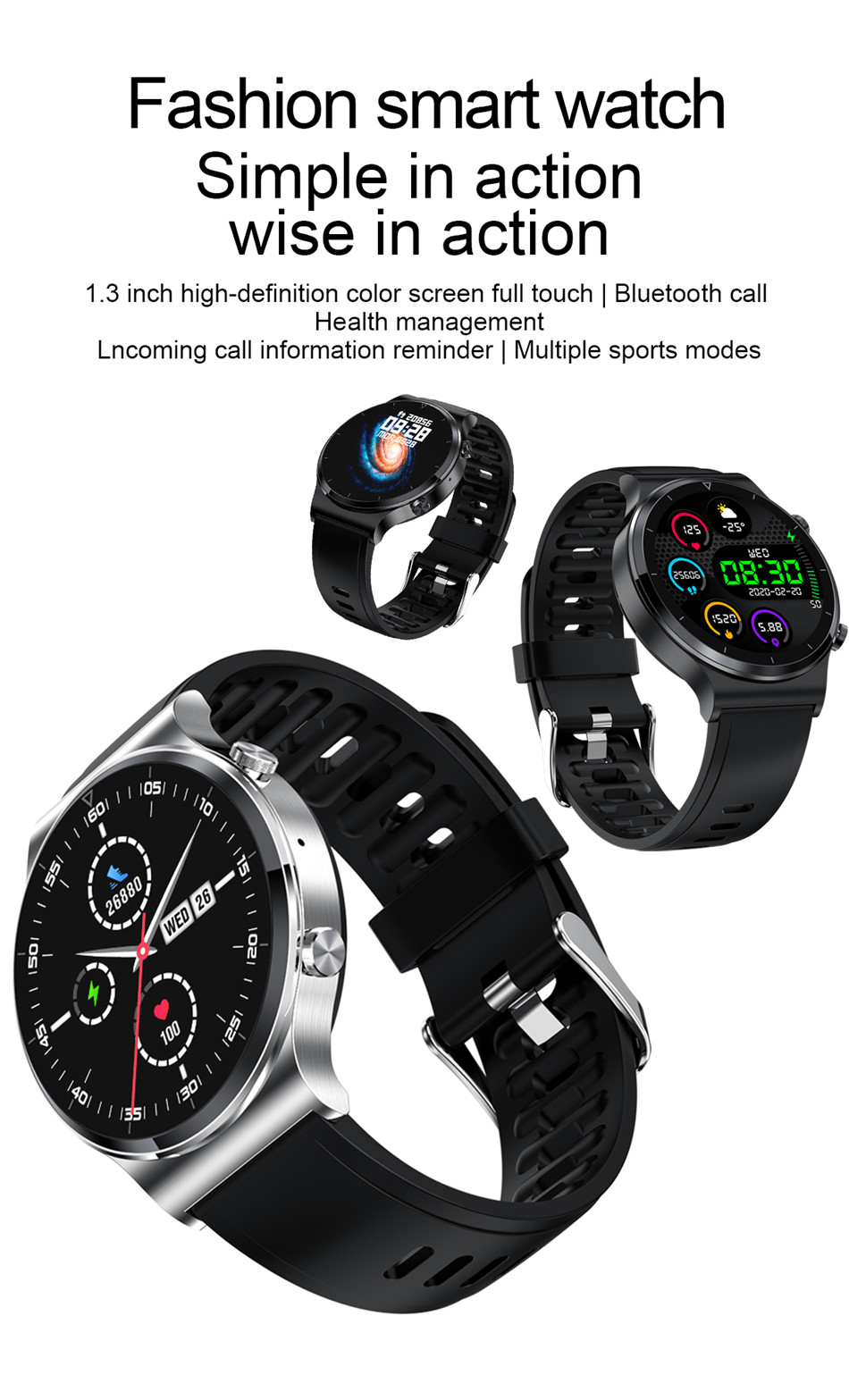 Lige relógio inteligente bluetooth chamada esportes relógio