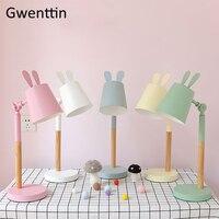 Nordic Wood Table Lamps Rabbit Lamp for Kids Bedroom Bedside Light Fixtures Modern Led Stand Desk Lights Home Deco Luminaire E27