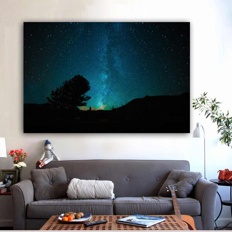 RELIABLI ART Canvas Painting Night Sky Stars Space Cuadros Posters And Prints Home Decor Wall Art Pictures For Room NO FRAME