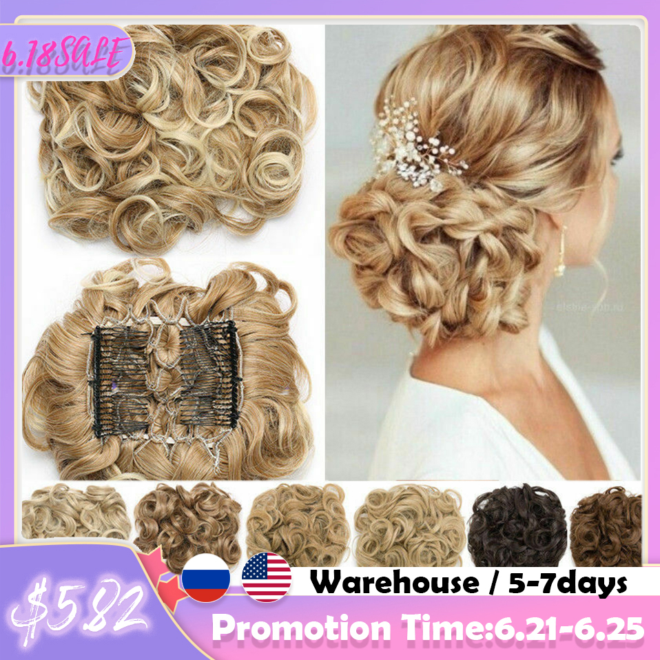S-noilite LARGE Comb Clip In Curly Hair Extension Synthetic Hair Pieces Chignon Women Updo Cover Hairpiece Extension Hair Bun