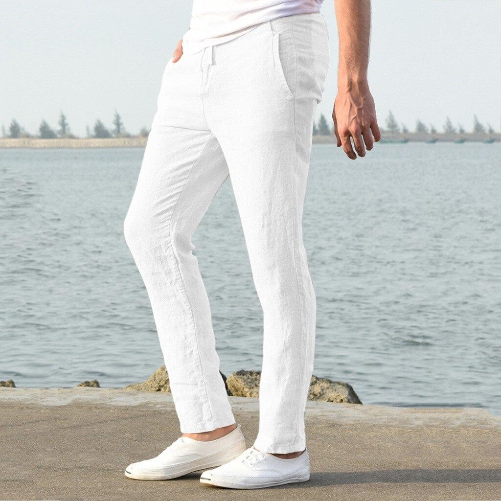 Ha2a9597bd2b147b8b39ec42fbc5d076fN Feitong Fashion Cotton Linen Pants Men Casual Work Solid White Elastic Waist Streetwear Long Pants Trousers