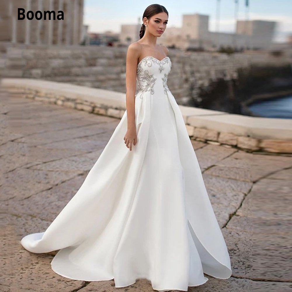 Booma Chic Strapless Wedding Dress Satin A line 20 Sexy Bridal Wedding  Gowns Beaded Lace up Beach Princess Party Gowns