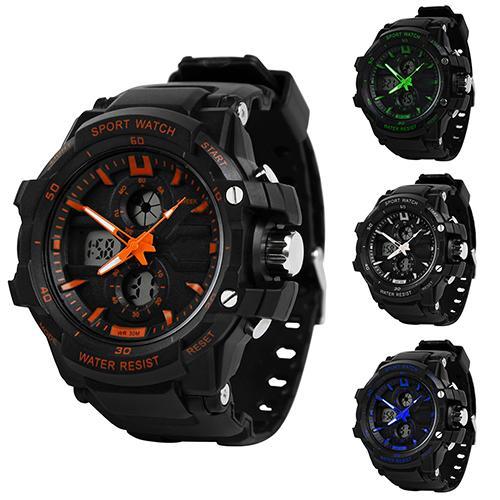 Men Sport Digital Analog Dual Time Alarm Date Chronograph Night Light Wrist Watch Mas-culino Fashion Men's Watch Large Dial Mili
