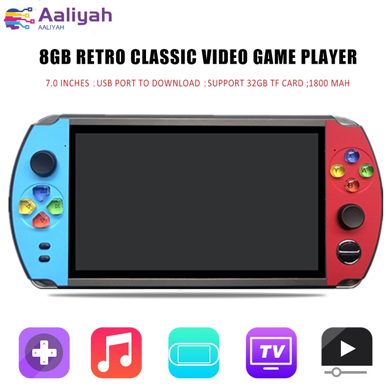 "X19 Retro Game Handheld Game Player Built-in 2000+ Classic Games 16GB 7.0"" LCD Color Screen TV Output Video Game Console Gift"
