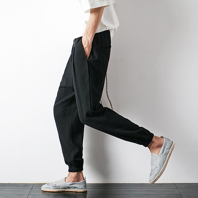 Chinese-style 2018 Summer New Style Men Flax Loose-Fit Harem Skinny Pants Men's Cotton Linen Solid Color Capri Pants