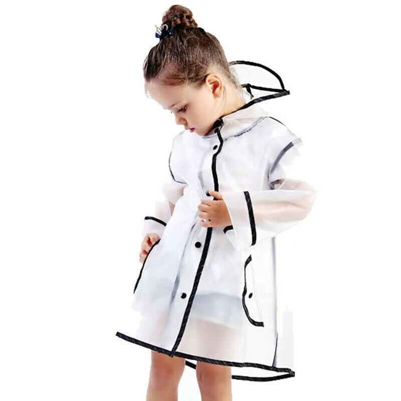 Fashion EVA Kids Raincoat Waterproof Rain Poncho Clear Transparent Tour Children Raincoat Student Rainsuit Protective Covers