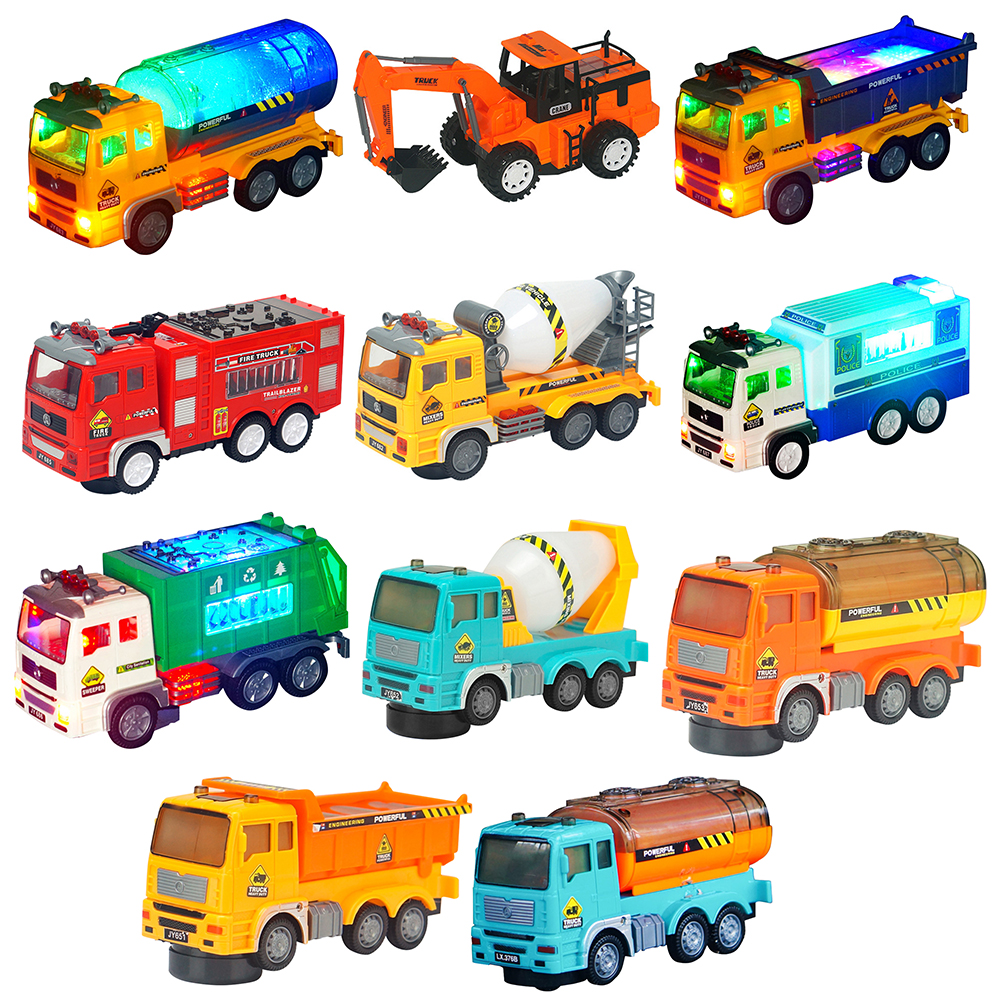 Mini Toy <font><b>Car</b></font> <font><b>Model</b></font> Alloy Diecast Engineering Construction Fire Truck Ambulance Transport <font><b>Car</b></font> With 4d Light Children Game Gifts 1 image