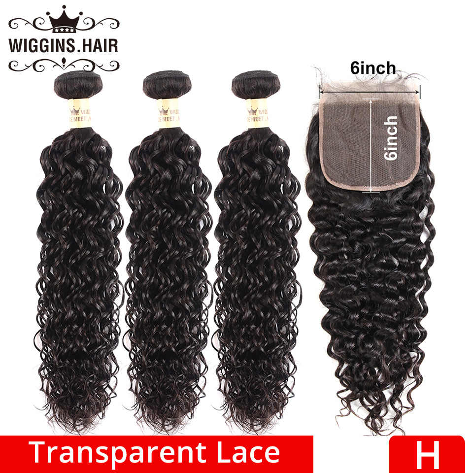 3 Bundles With 6x6 Closure Transparent Lace Brazilian Natural Wave Human Hair Bundles With Closure Wiggins High Ratio Remy Hair
