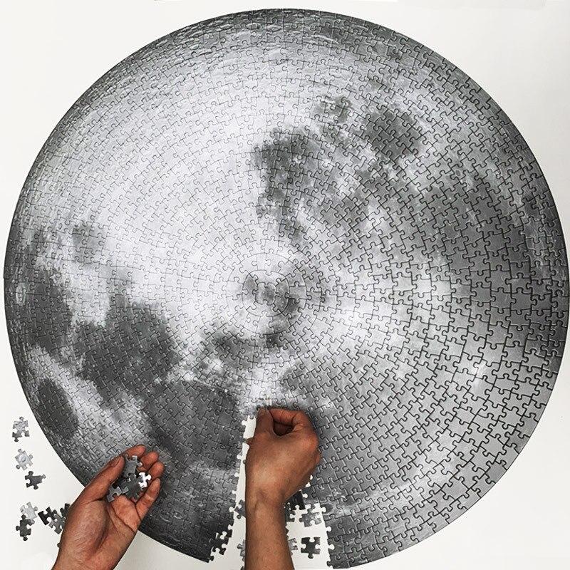Круглый Пазл «Луна и земля» 1000 штук мозаика паззл для взрослых игрушки обучающая игрушка Детские подарки 1000 шт. круглая Головоломка «Луна»