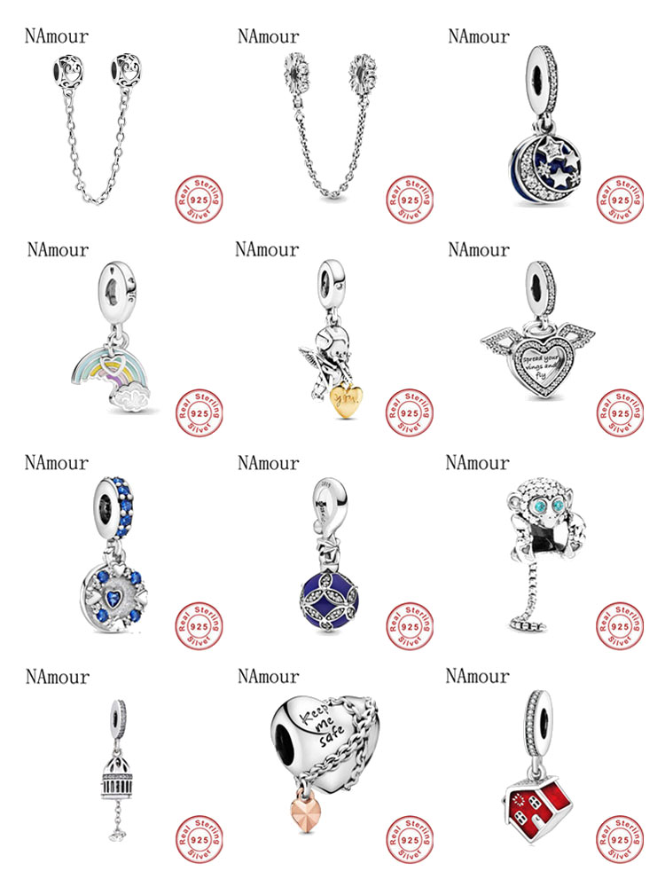 New ribbon Clear Sparkle Ornament Dangle Bead fit original Pandora charms 925 sterling silver Bracelet for women fashion jewelry(China)