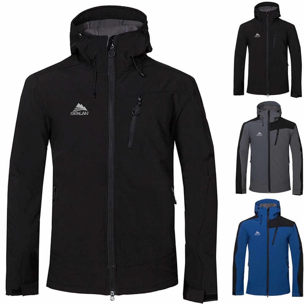 2019 Erkek Sonbahar Kış Su Geçirmez Balıkçılık Kayak Sıcak Erkek Rahat Moda Su Geçirmez sıcak tutmak Ceketler Spor Açık Ceket