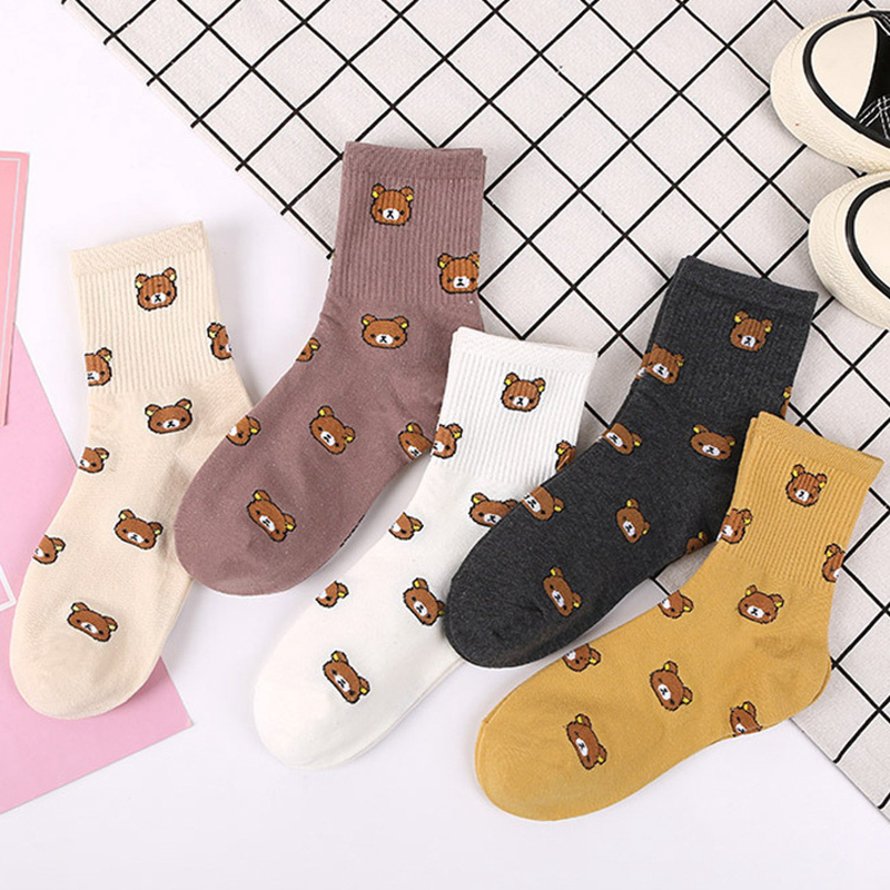 1 Pair of Comfortable and Soft Women's Cotton Socks Fashion Cartoon Cub Embroidery Pattern Middle Tube Cotton Women's Socks