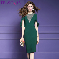 TESSCARA Women Elegant Beading Even Parti Dress Female Fashion Party Robe Femme High Quality Designer Pencil Vestidos Plus Size