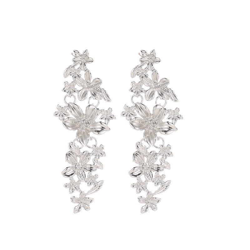 Fashion Flower Earrings Trend Metal Long Earrings Lady Personality Ear rings For Women Jewelry Accessories aros mujer oreja