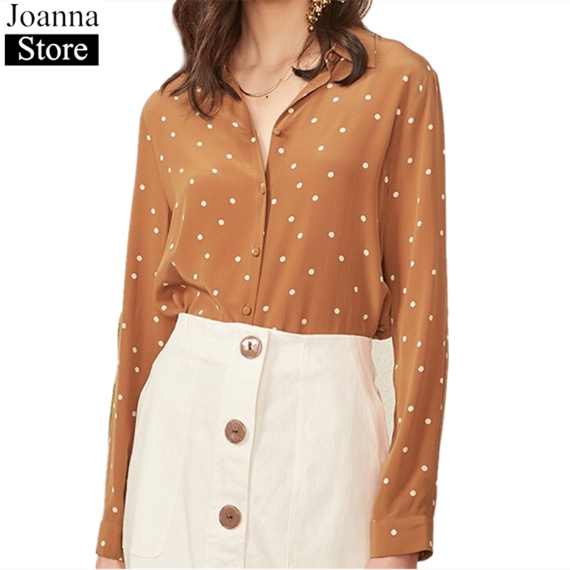 Spring New Women Dot Print 100%Silk Short Shirts Long Sleeve Single-Breasted Vintage Elegant Blouse Soft Plus Size Wild Clothes