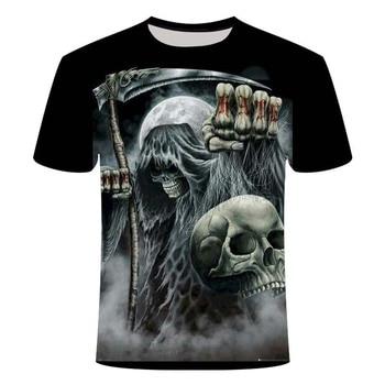 Skull T-shirt Men's Skull T-shirt Punk Rock T-shirt Gun T-shirt 3D Printing T-shirt Retro Men's Summer Top Large Size 6XL skull 3d printing horror skull t shirt cool cool t shirt gothic style punk t shirt retro t shirt 3dt shirt men