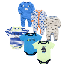Uniesx Newborn Baby Rompers Sets Clothing 6Pcs/Lot Infant Jumpsuits 100%Cotton Children Roupa De Bebe Girls&Boy Clothes Set