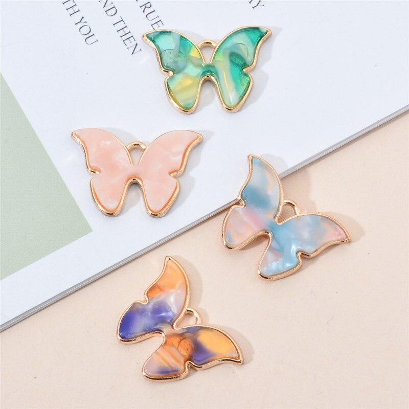 10 шт. эмалью Подвески кулон в виде бабочки, которые можно сделать своими руками, популярные металлическое ожерелье серьги аксессуары больши...