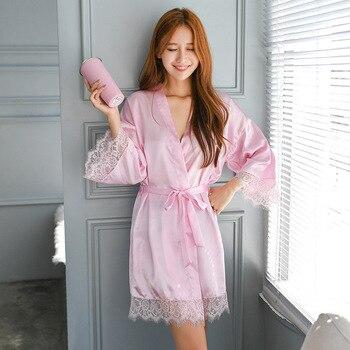 Pink Silky Sleep Robe Sexy Woman Strap Top Sleepwear Nightdress Bathrobe Lady Home Wear Nightgown Bath Gown Sleepshirts M-XXL