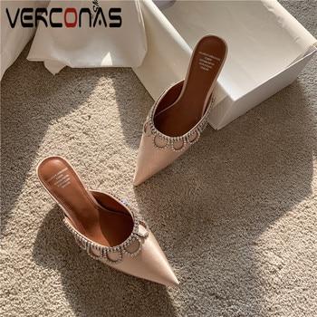 VERCONAS 2020  Brand Design Fashion Woman Pumps Woman Sandals  Mules Summer Rhinestone Pointed Toe Thin High Heels Shoes Woman