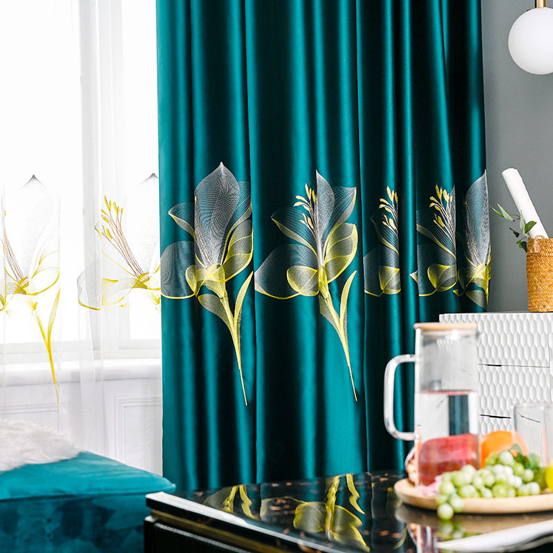 Luxury European Blackout Curtains For Bedroom Damask Impression Lily Embroidery Bay Window Treatment Drapes JS224C